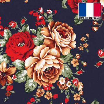 Tissu scuba bleu marine motif bouquet de fleurs rouge et beige