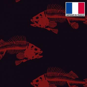 Satin noir motif squelette de poisson rouge foncé