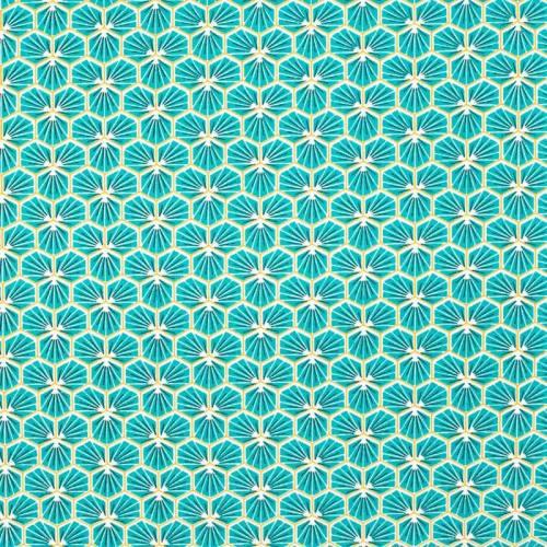 Coton enduit turquoise motif trèfle riad