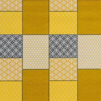Toile cirée moutarde motif faience blanche