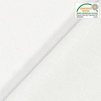 Toile coton légère blanche grande largeur demi-natté