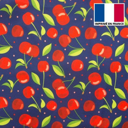 Tissu Burlington bleu imprimé cerise