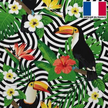 Velours ras imprimé vague noire et toucan