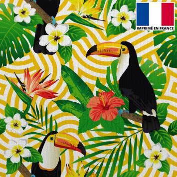 Velours ras imprimé vague jaune et toucan