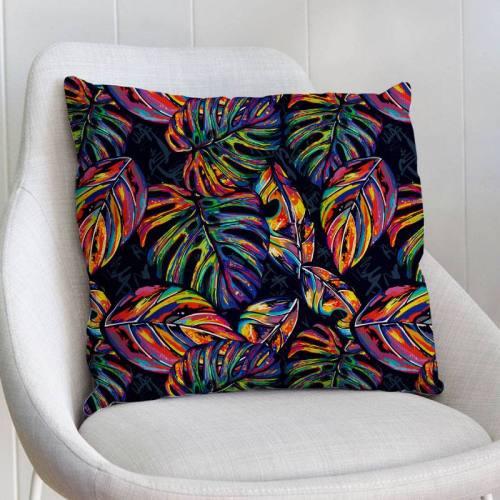 Velours ras noir imprimé palme multicolore