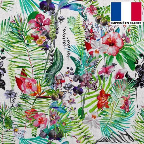 Velours ras imprimé jardin exotique