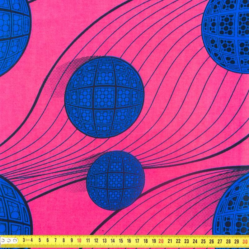 Wax - Tissu africain rose motif boule bleue 335