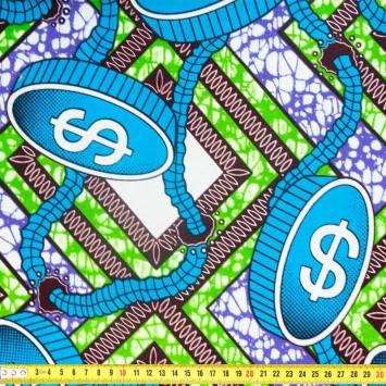Wax - Tissu africain motif dollar 355