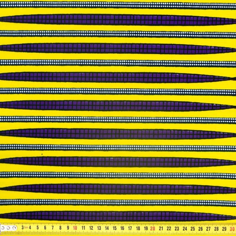 Wax - Tissu africain jaune rayure blanche et violette 337