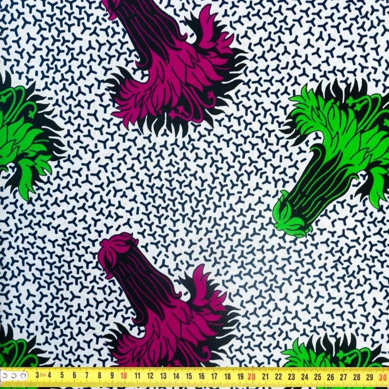 Wax - Tissu africain motif fleur verte et violette 343