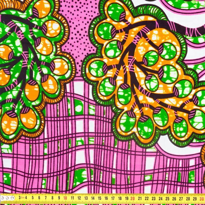 Wax - Tissu africain rose motif raisin 361
