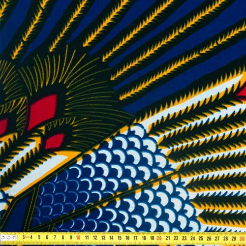 Wax - Tissu africain bleu motif plume d'oiseau 344