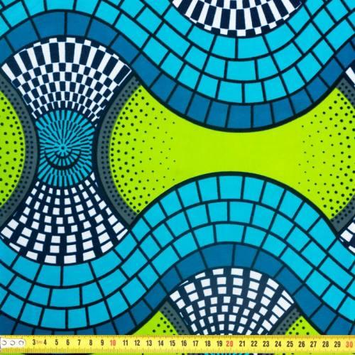 Wax - Tissu africain vert motif géométrique et cercle 353
