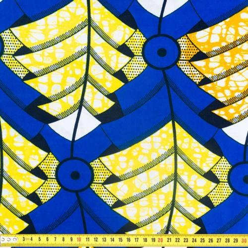 Wax - Tissu africain motif feuille jaune et bleue 364