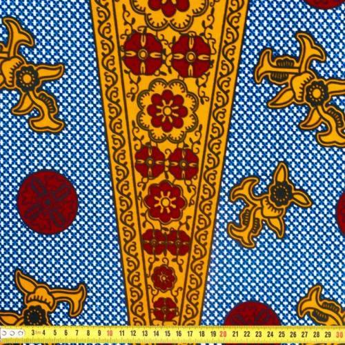 Wax - Tissu africain motif rosace safran et rouge 367