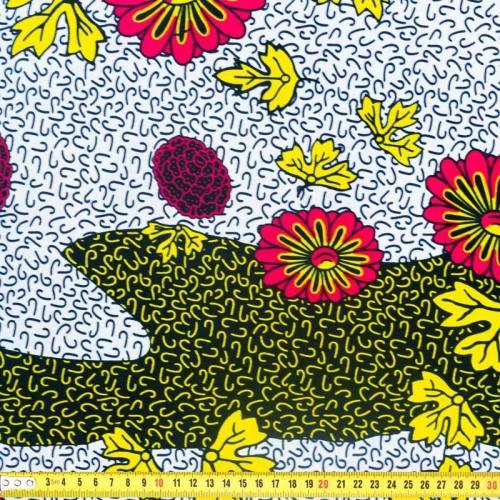 Wax - Tissu africain motif fleur framboise et feuille jaune 358