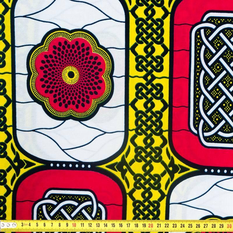 Wax - Tissu africain motif fleur et chaîne 357