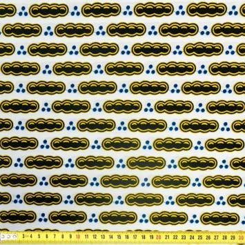 Wax - Tissu africain motif petit pois noir 356