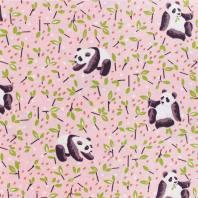 Coton rose imprimé panda