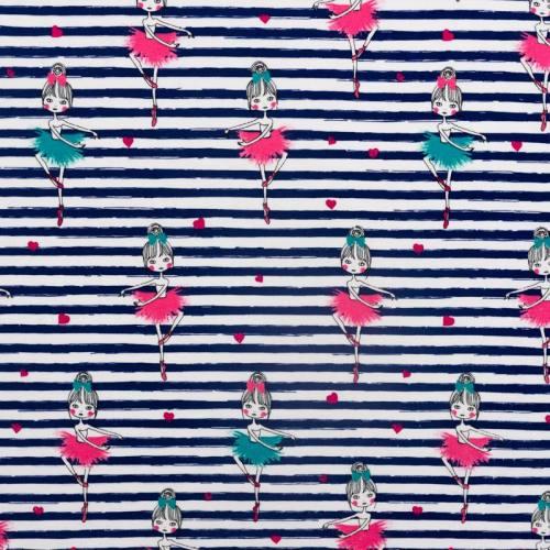 Jersey blanc rayé bleu motif danseuse
