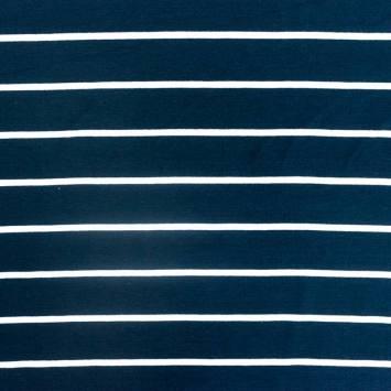 Jersey viscose bleu marine rayé blanc