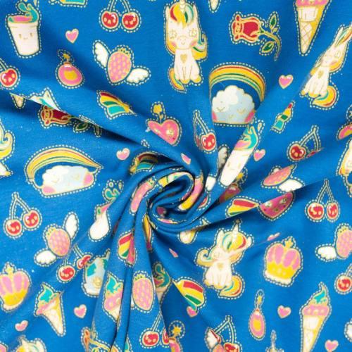 Jersey French Terry bleu imprimé sweet licorne à paillettes