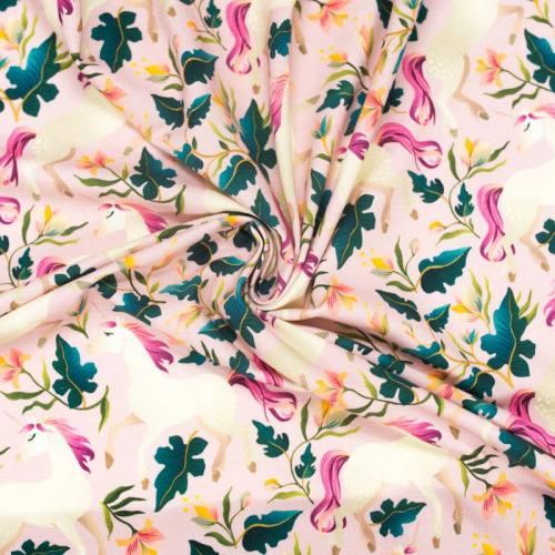 Jersey rose imprimé licorne et fleur
