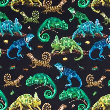 Jersey noir imprimé caméléon et iguane