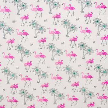 Coton blanc motif flamant rose et palmier turquoise