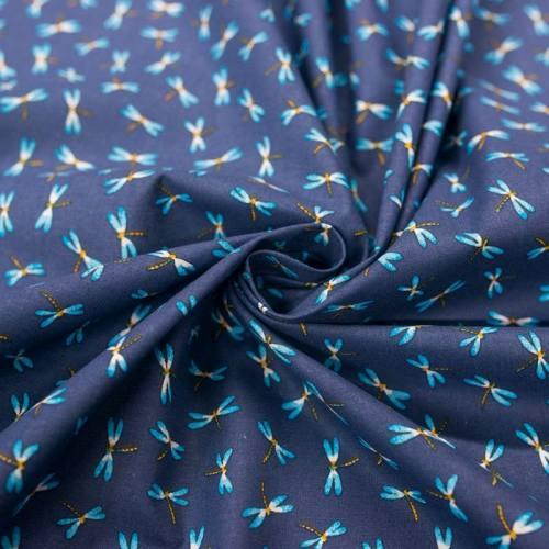 Coton bleu motif libellule