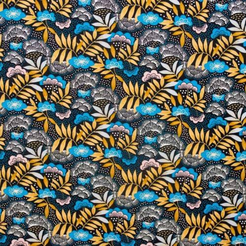 Coton imprimé floral bleu et noisette