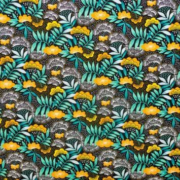 Coton imprimé floral ocre et vert émeraude