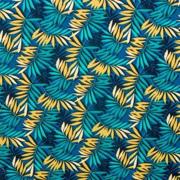 Coton bleu motif feuille turquoise et dorée