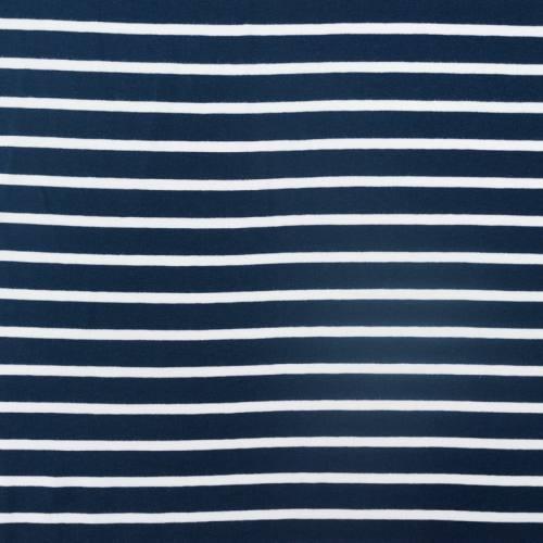 Jersey bleu marine imprimé rayure blanche