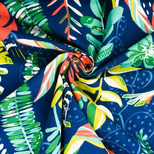 Toile coton bleu marine imprimée oiseau vert