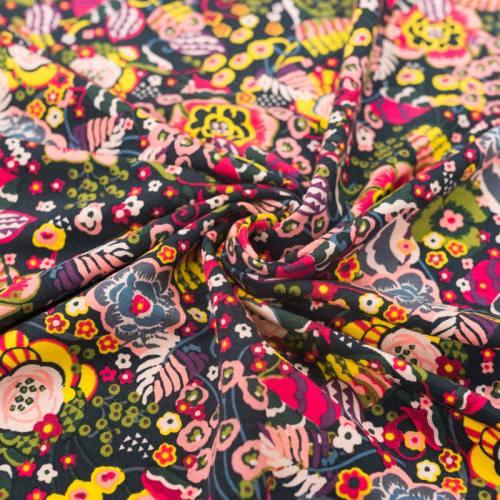 Jersey molleton vert anglais motif floral