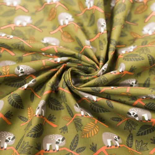 Coton vert motif paresseux