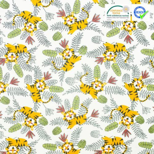 Coton beige motif tigre et feuille