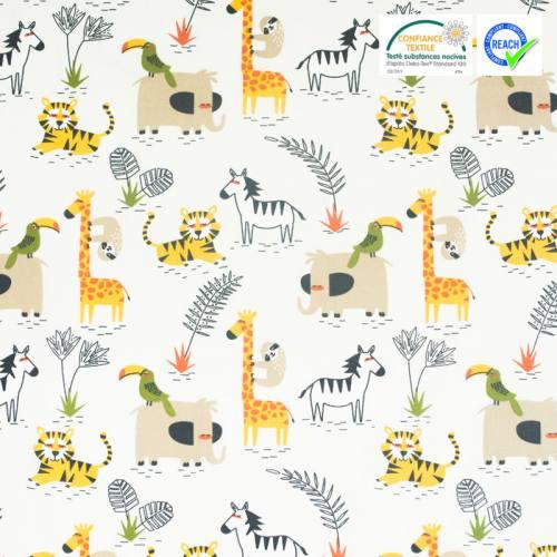 Coton beige motif animaux de la savane