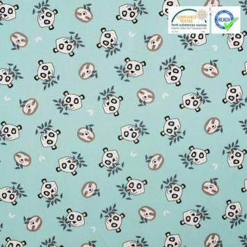 Coton turquoise imprimé tête de panda et paresseux