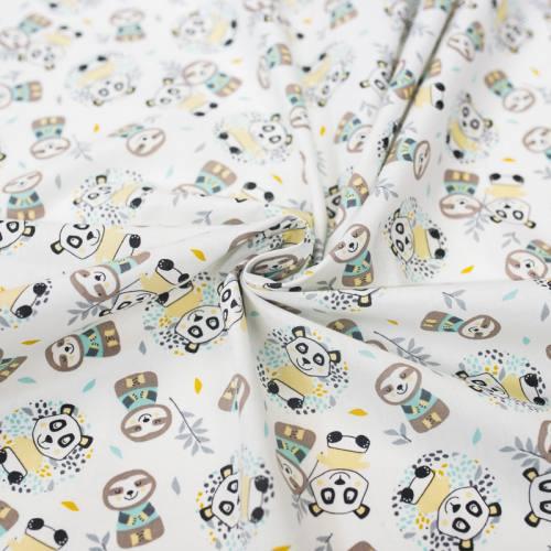 Coton blanc imprimé panda jaune et paresseux bleu