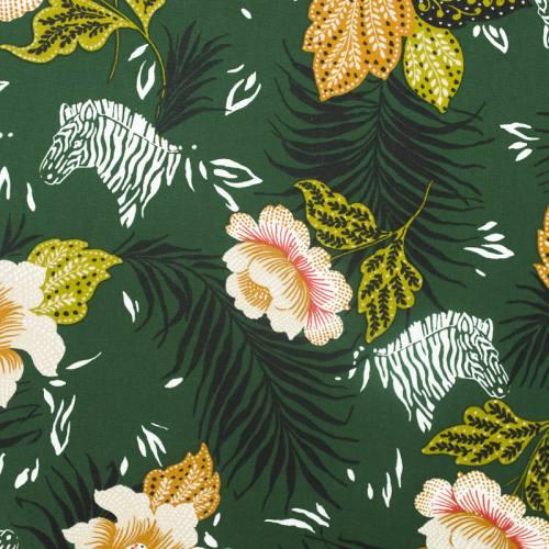 Toile coton vert sapin motif feuille tropicale et zèbre