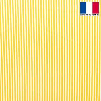 Tissu microfibre écru imprimé fines rayures jaune moutarde