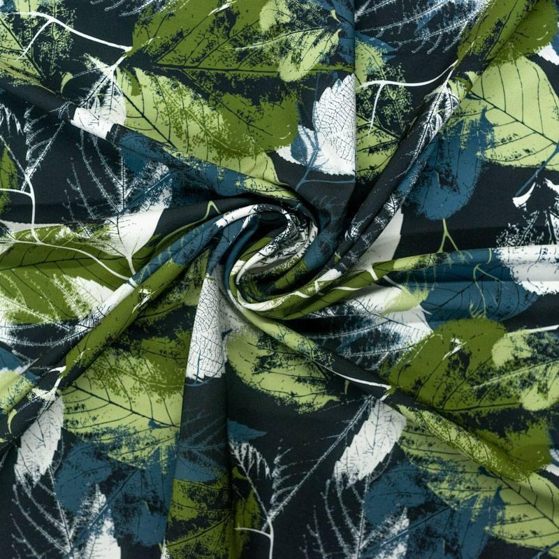 Tissu microfibre noir imprimé emprunte de feuille verte grise et écrue