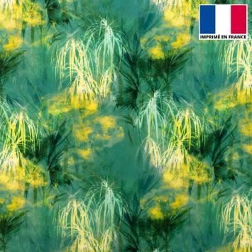 Tissu microfibre vert imprimé feuillage jaune et vert