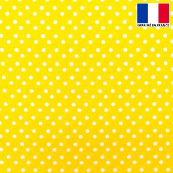 Tissu microfibre jaune imprimé pois blanc