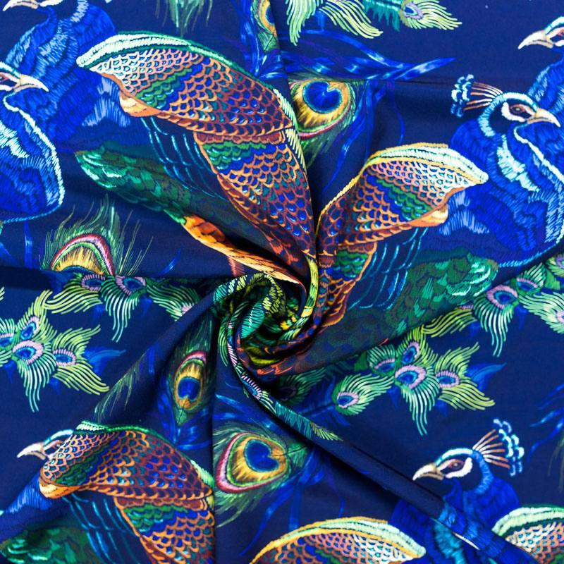 Tissu microfibre bleu marine imprimé paon brodé