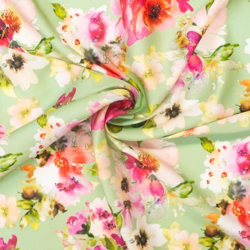 Satin vert imprimé peinture florale rose