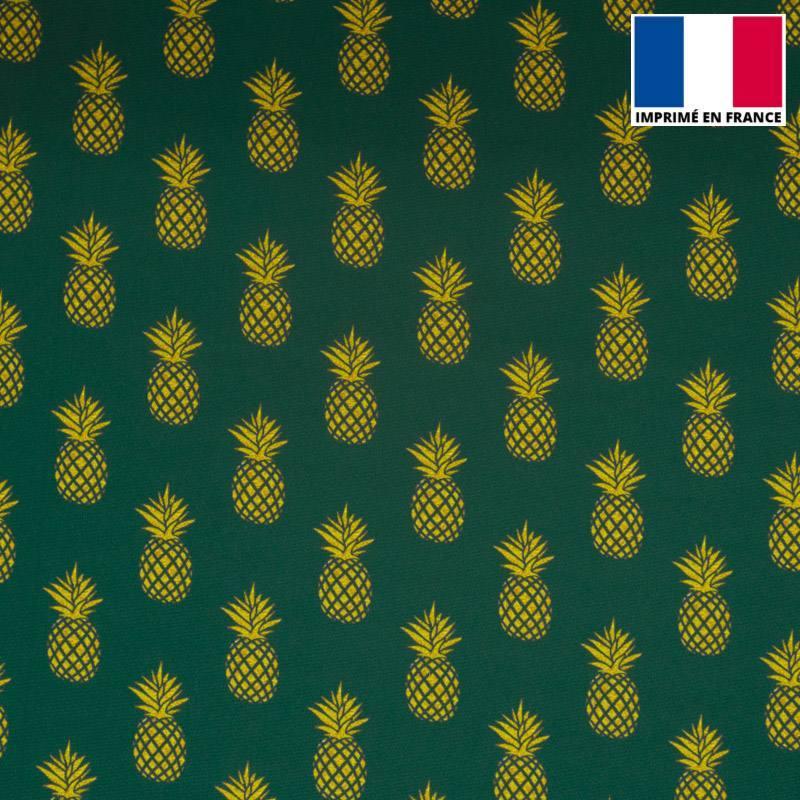 Satin bleu canard imprimé ananas doré