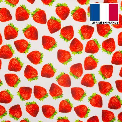 Tissu burlington imprimé fraise